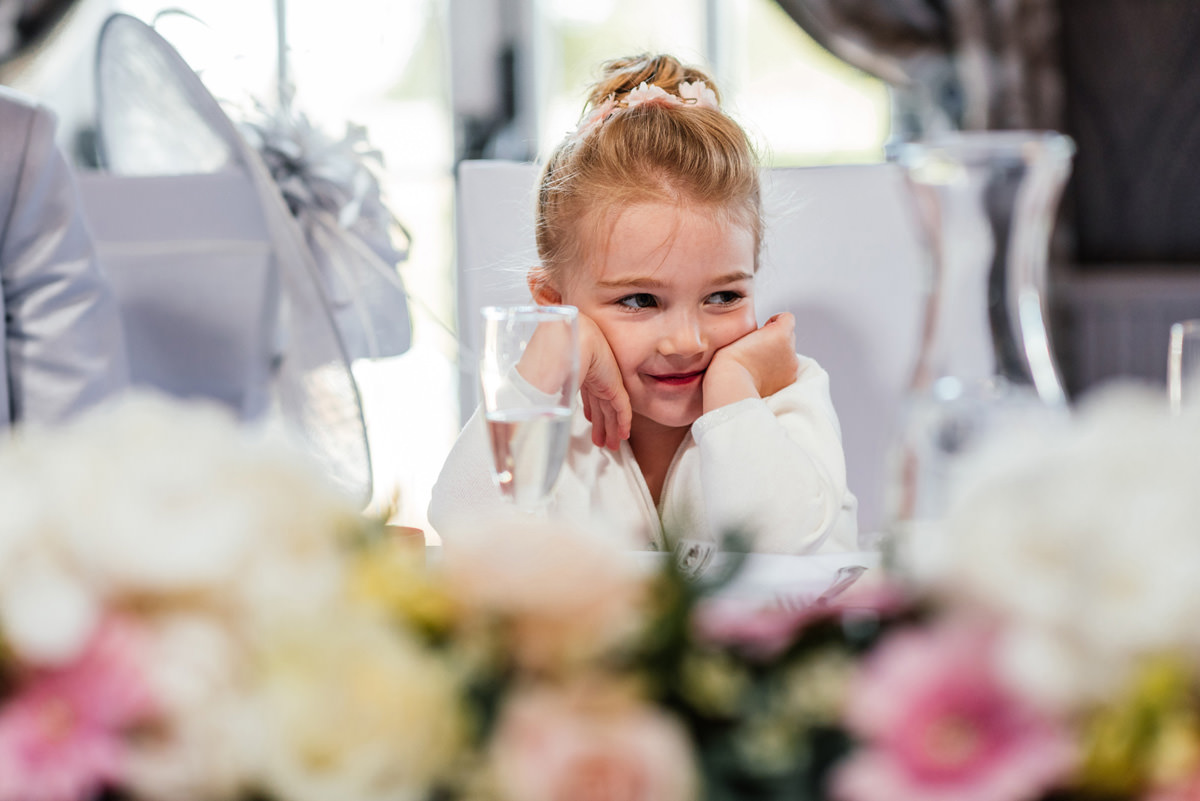 flower girl listening to speeches