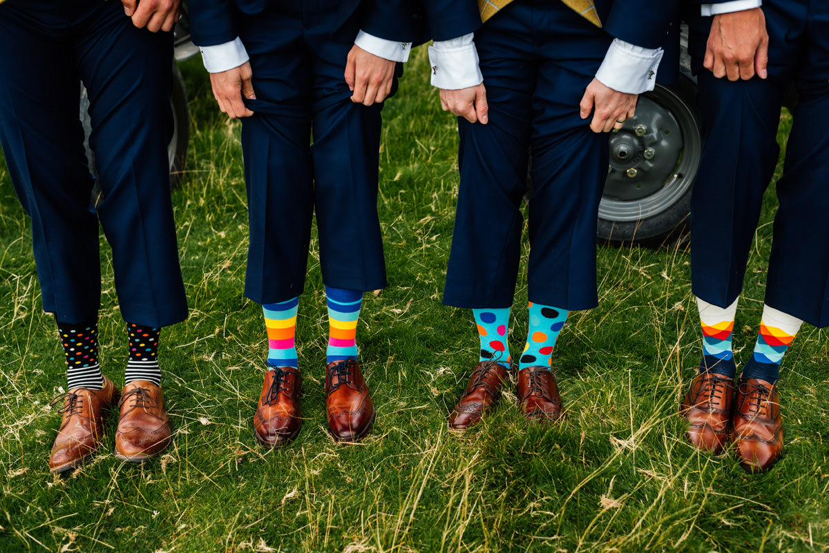 funky coloured socks worn by Simon and his groomsmen