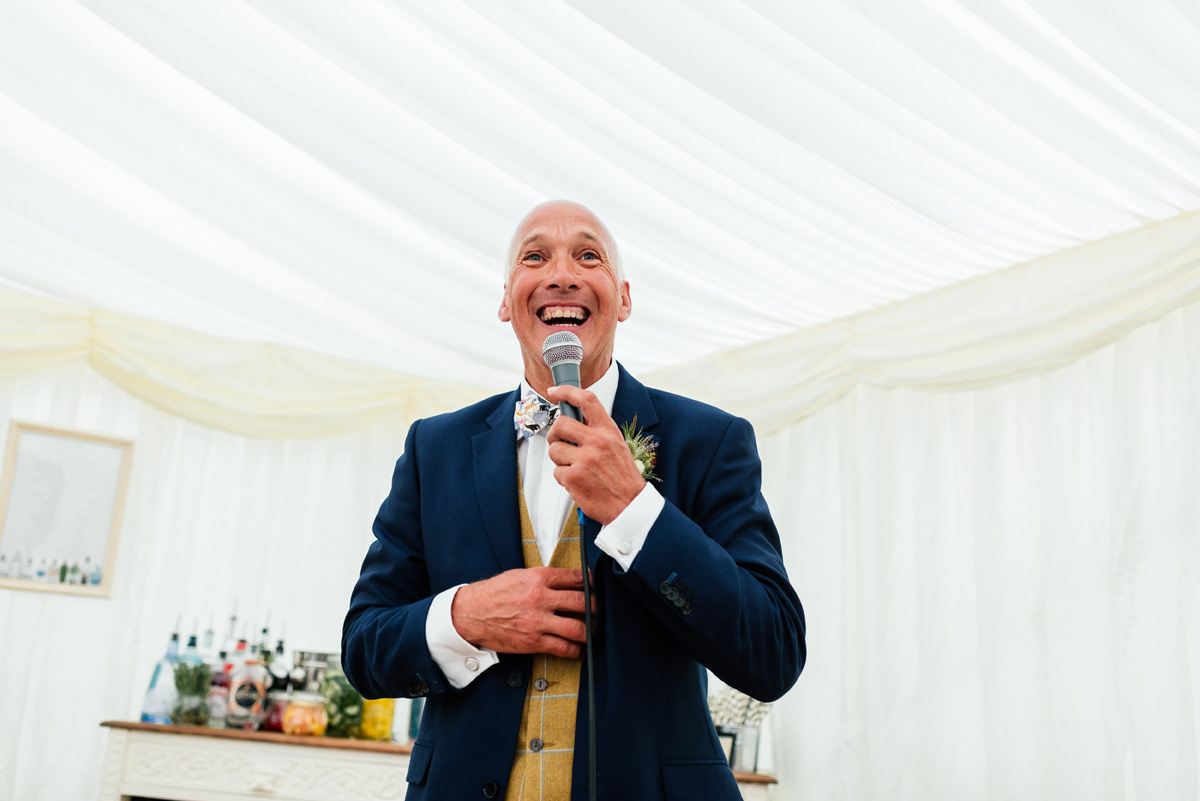 father of the bride delivers his speech
