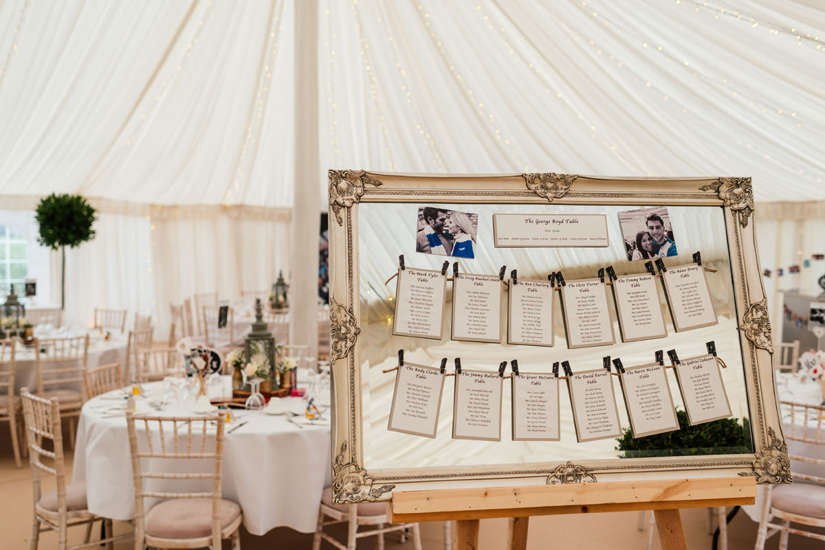 table plan in marquee vintage mirror