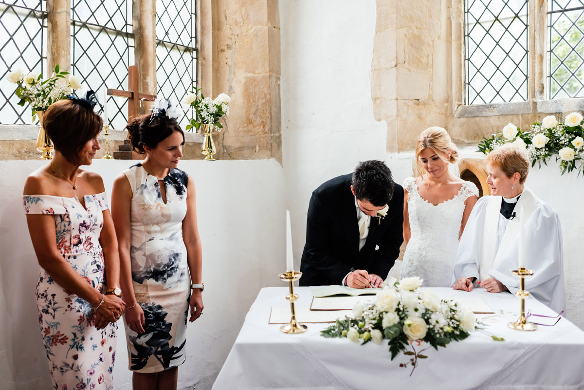 the signing of the marriage register