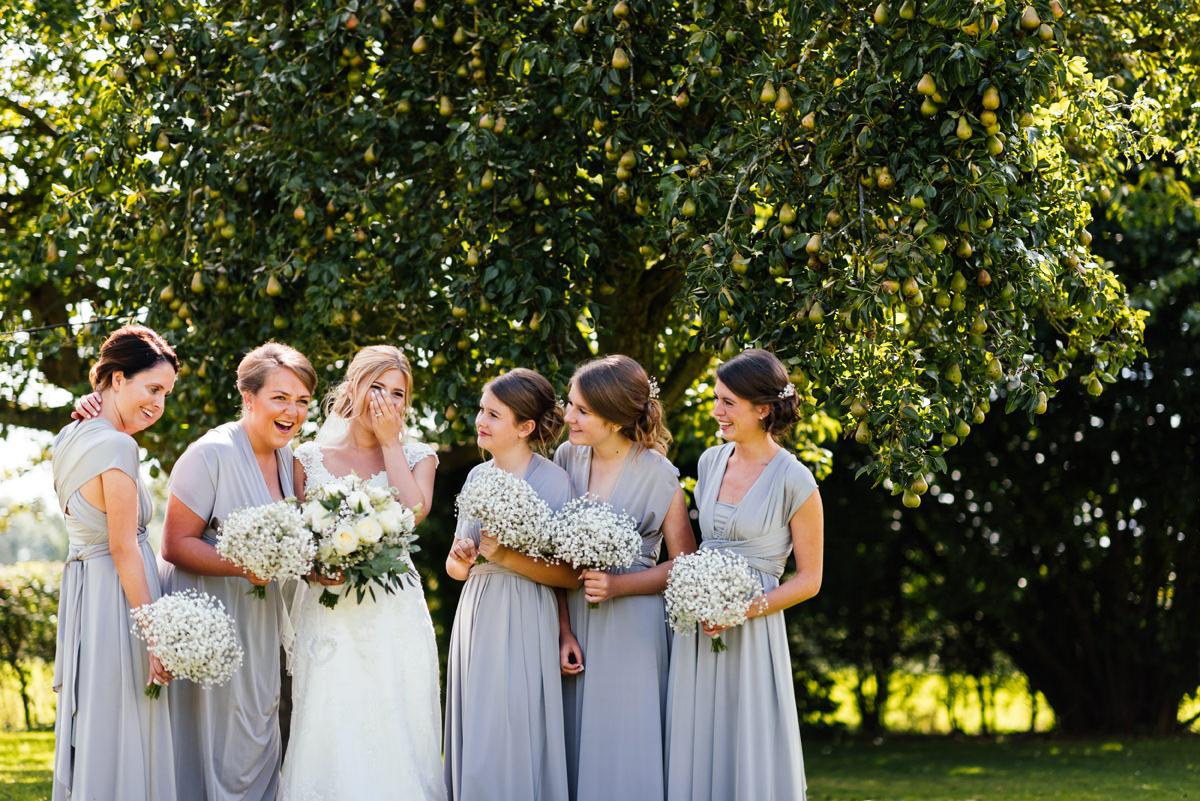 bride squad bride and bridesmaids group photo