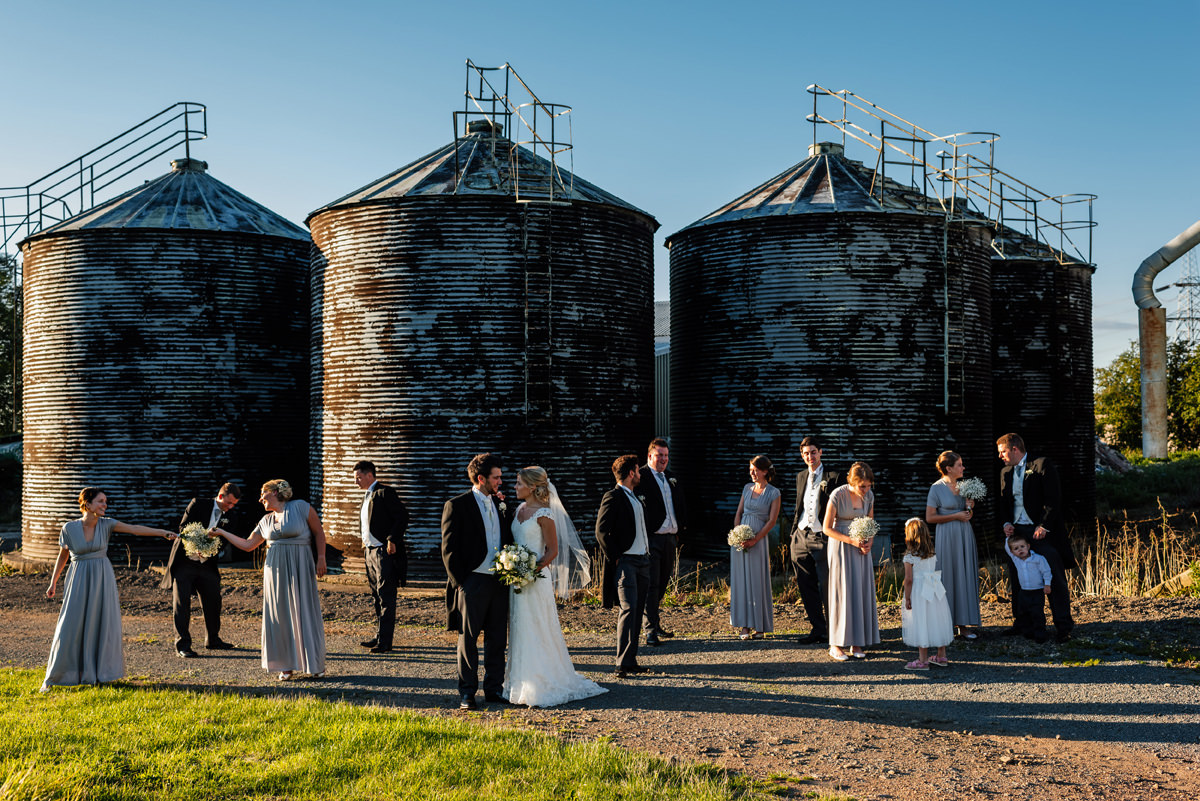 bridal party group photo on the farm