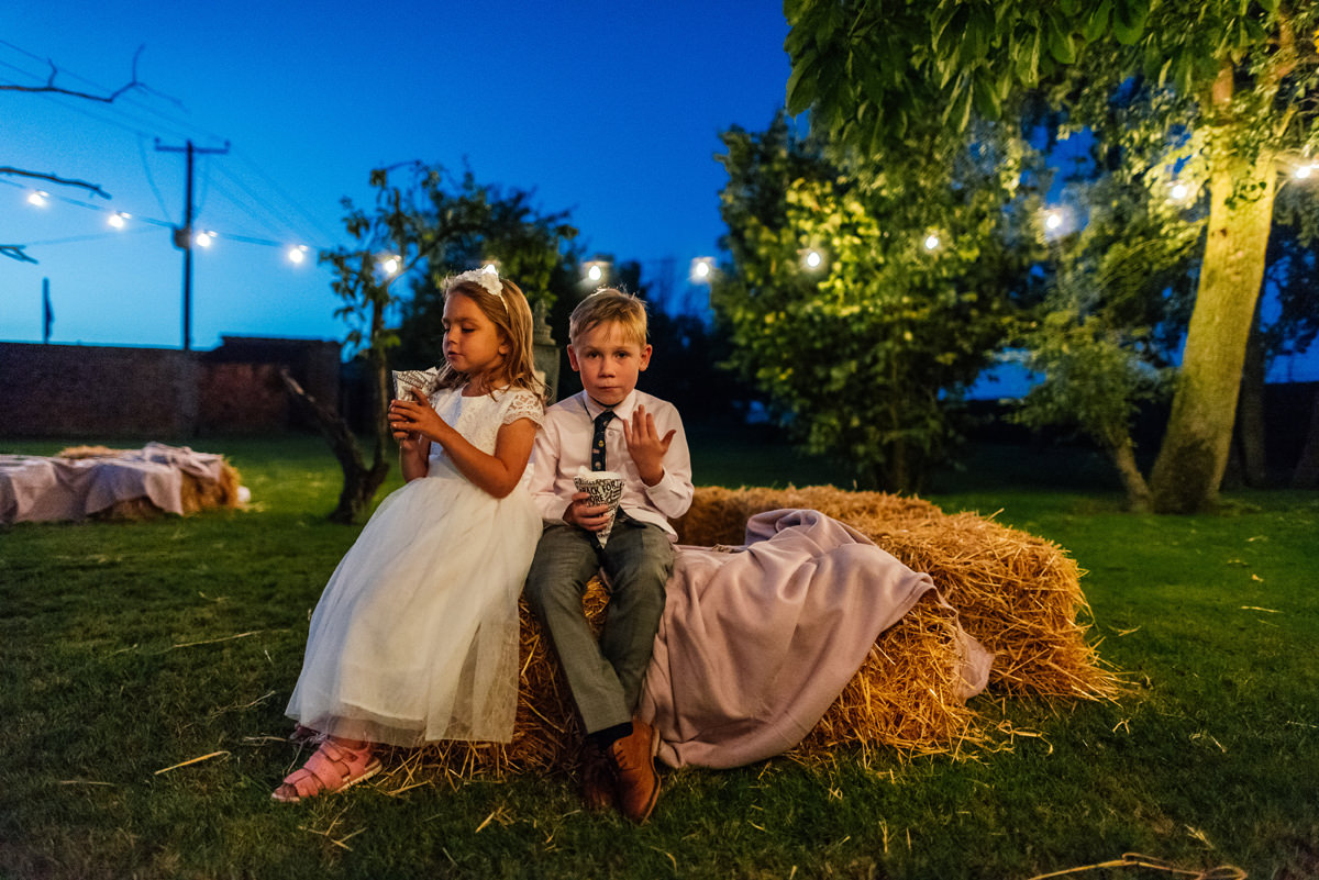 kids playing late into the evening at wedding