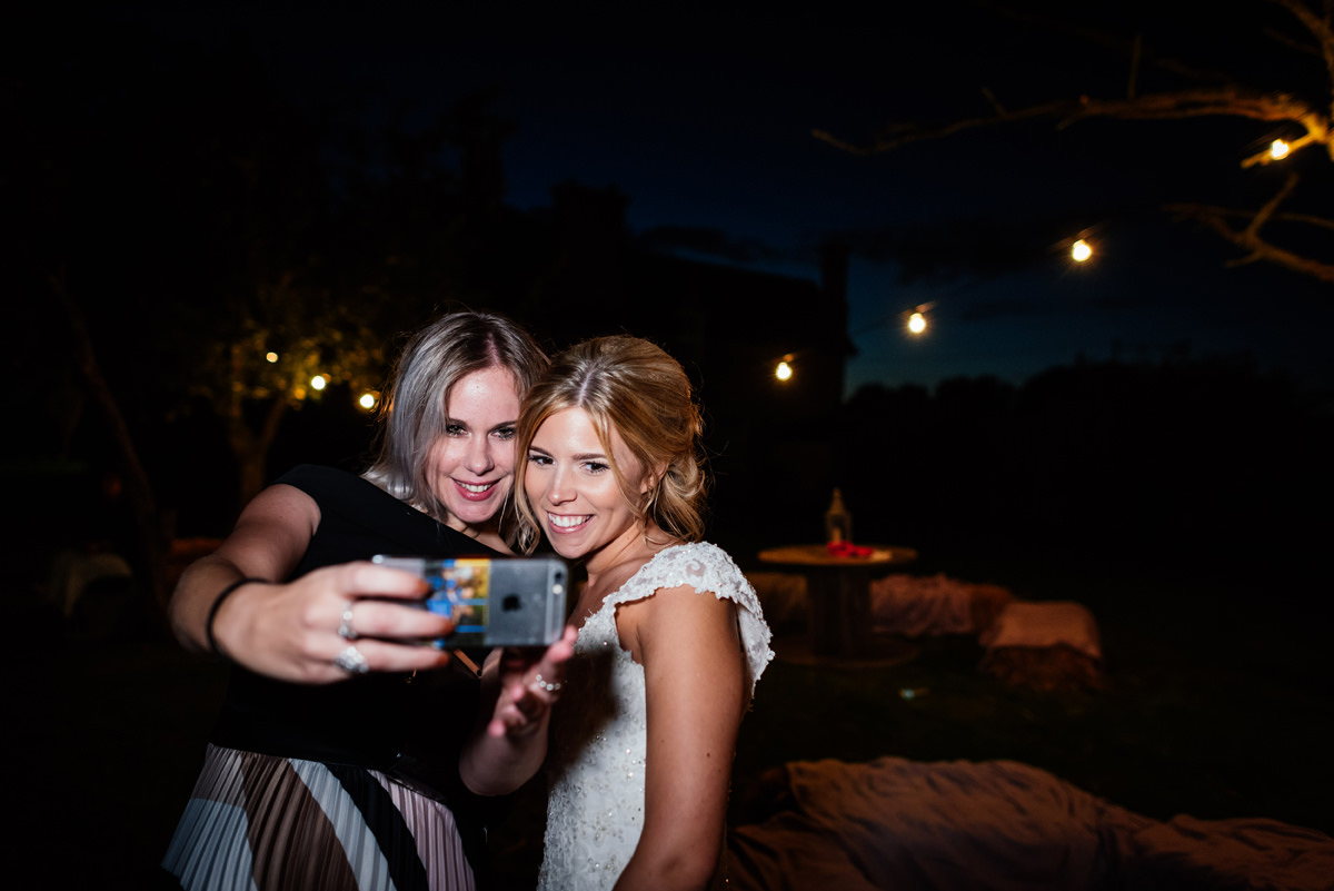 night time selfie with the bride