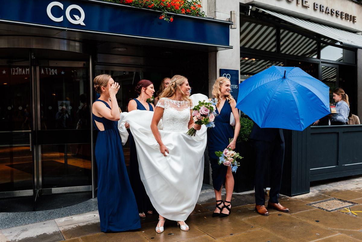 bride walking down the street in london