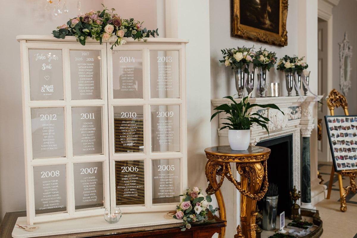 window frame table plan