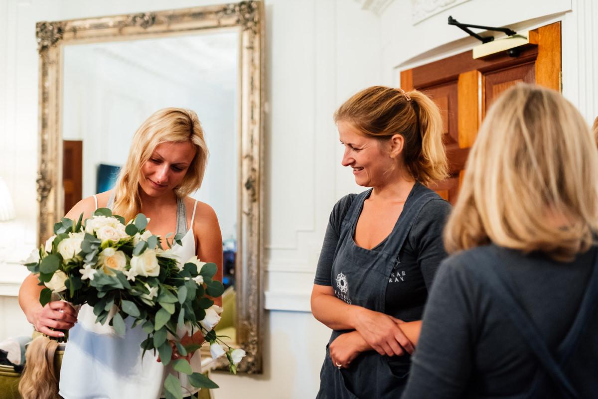 Bride receives her flowers