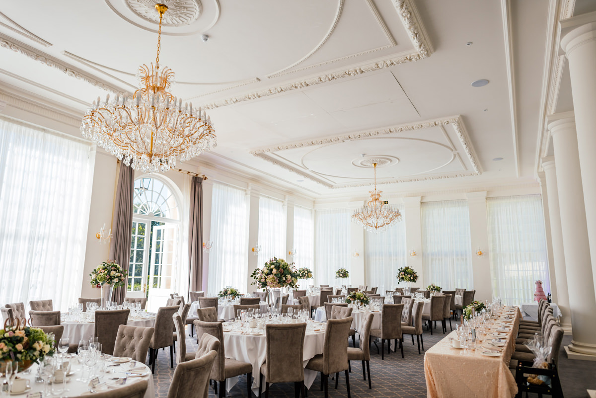 classic wedding breakfast room at the orangery rushton hall