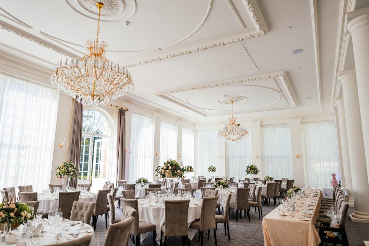 classic wedding breakfast room at the orangery rushton hall