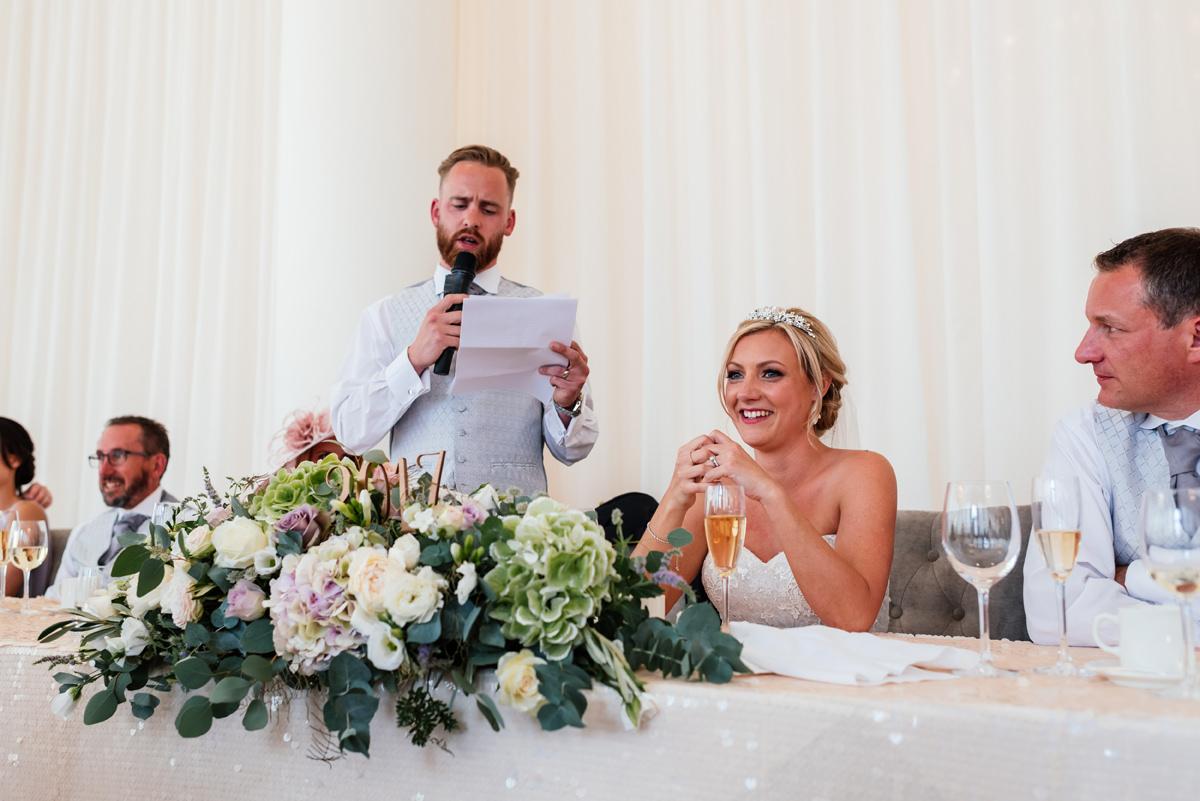 groom giving his speech