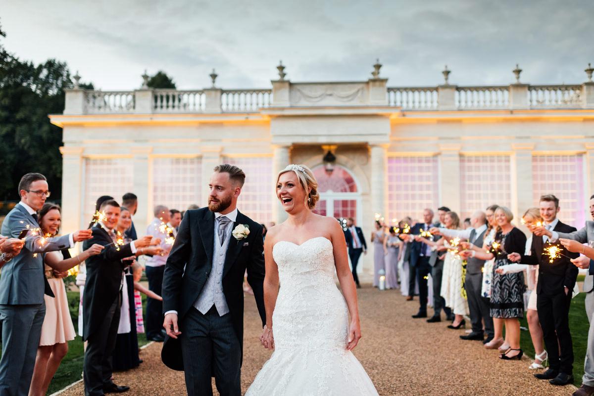 weddings sparklers at the orangery rushton hall
