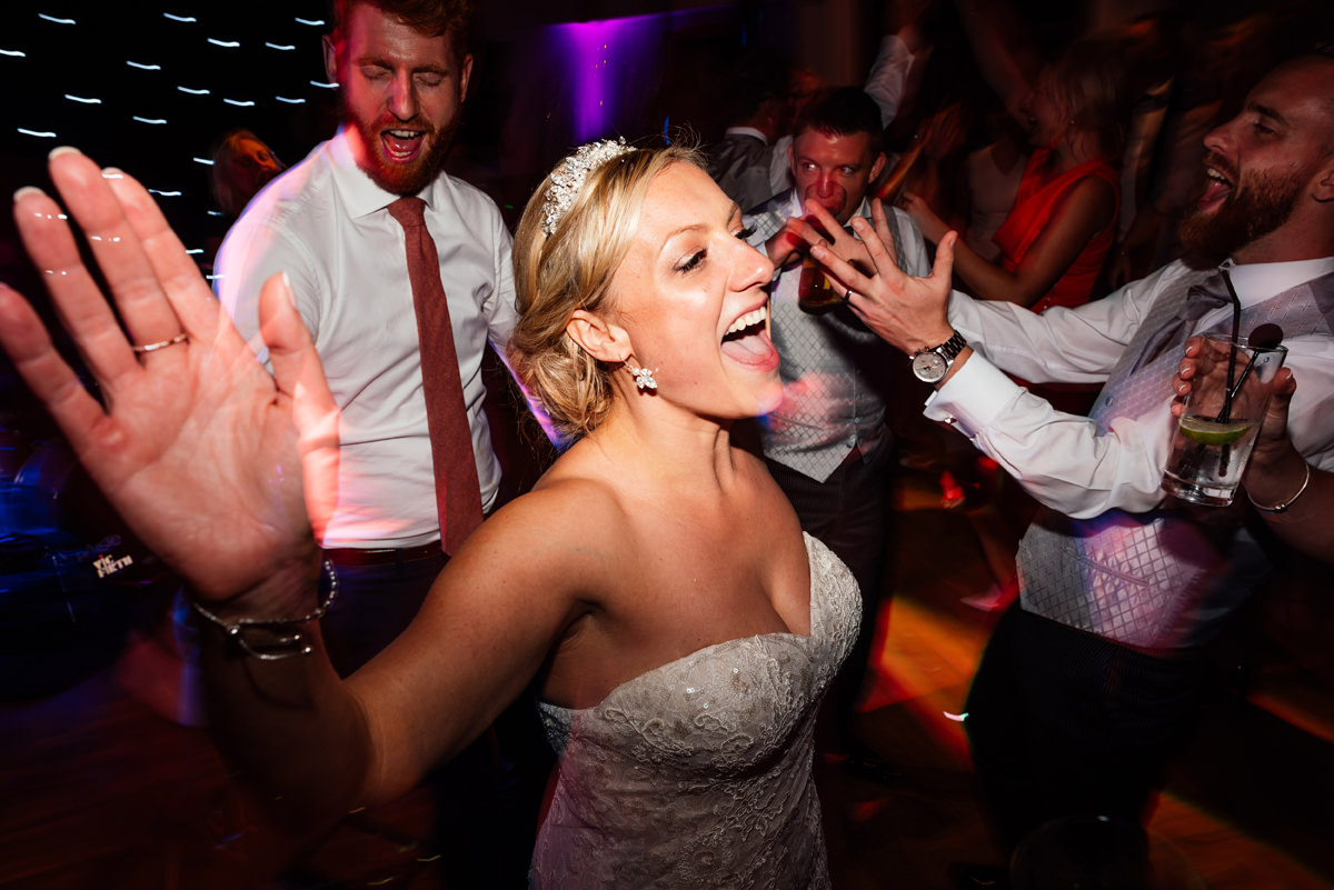 bride dancing on wedding day