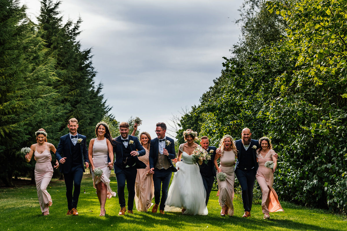 informal group photo of bridal party