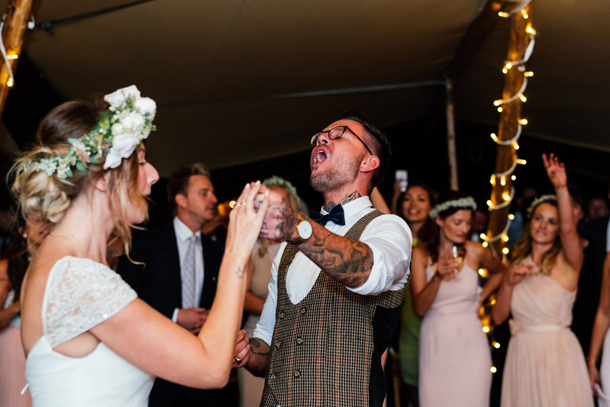groom singing during first dance
