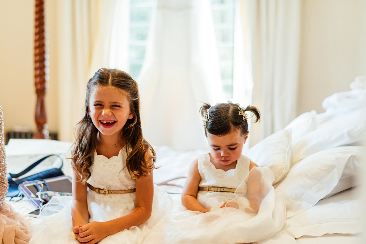 flower girls waiting before ceremony