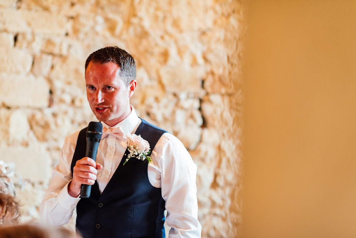 Groom giving his speech