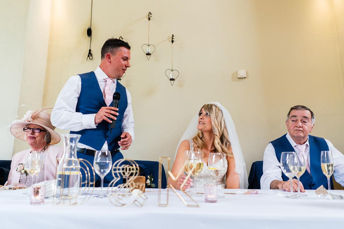 groom delivers his speech