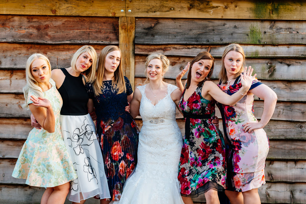 hen party group photo on wedding day