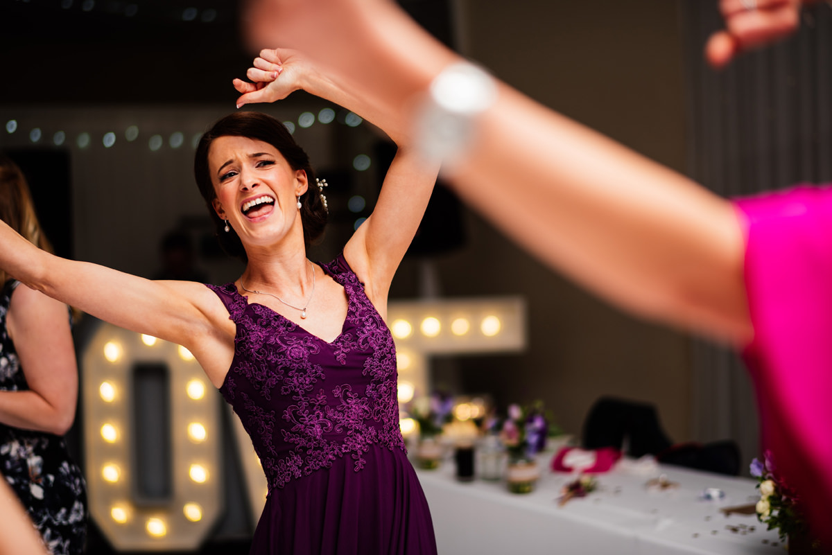 dancing bridesmaid