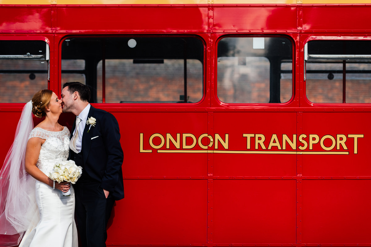 london bus bride and groom portrait