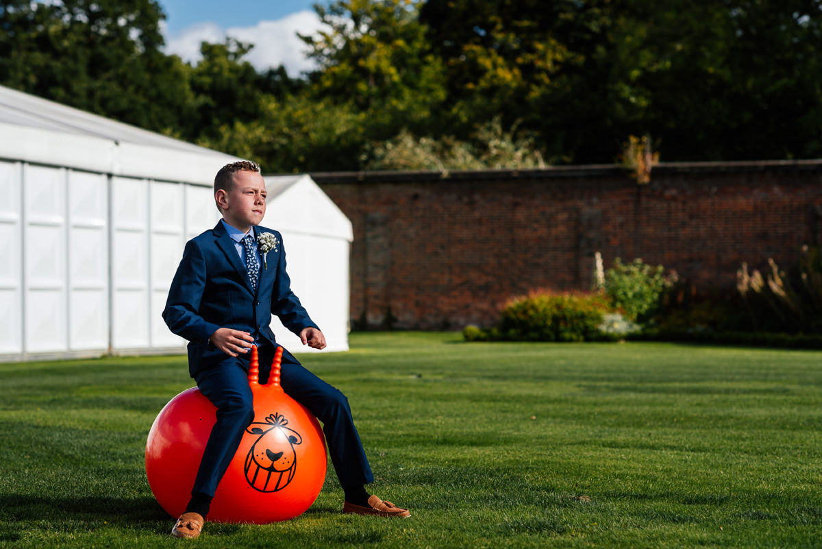 wedding guest on the space hopper