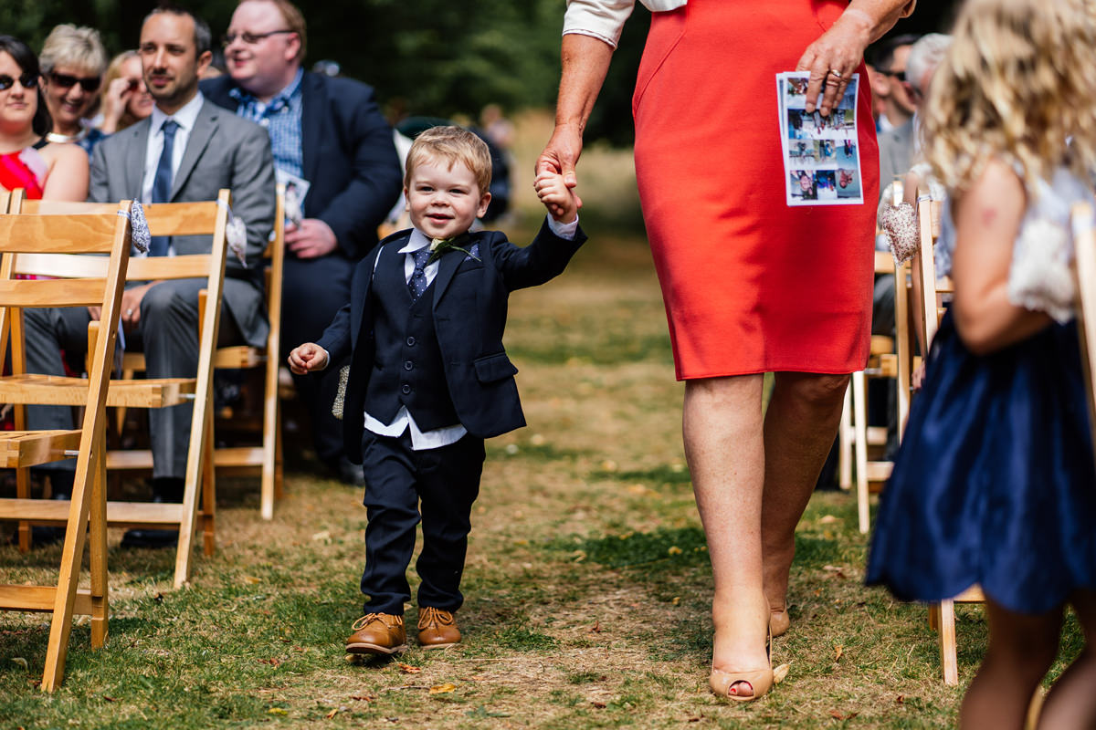 little boy as guest at wedding