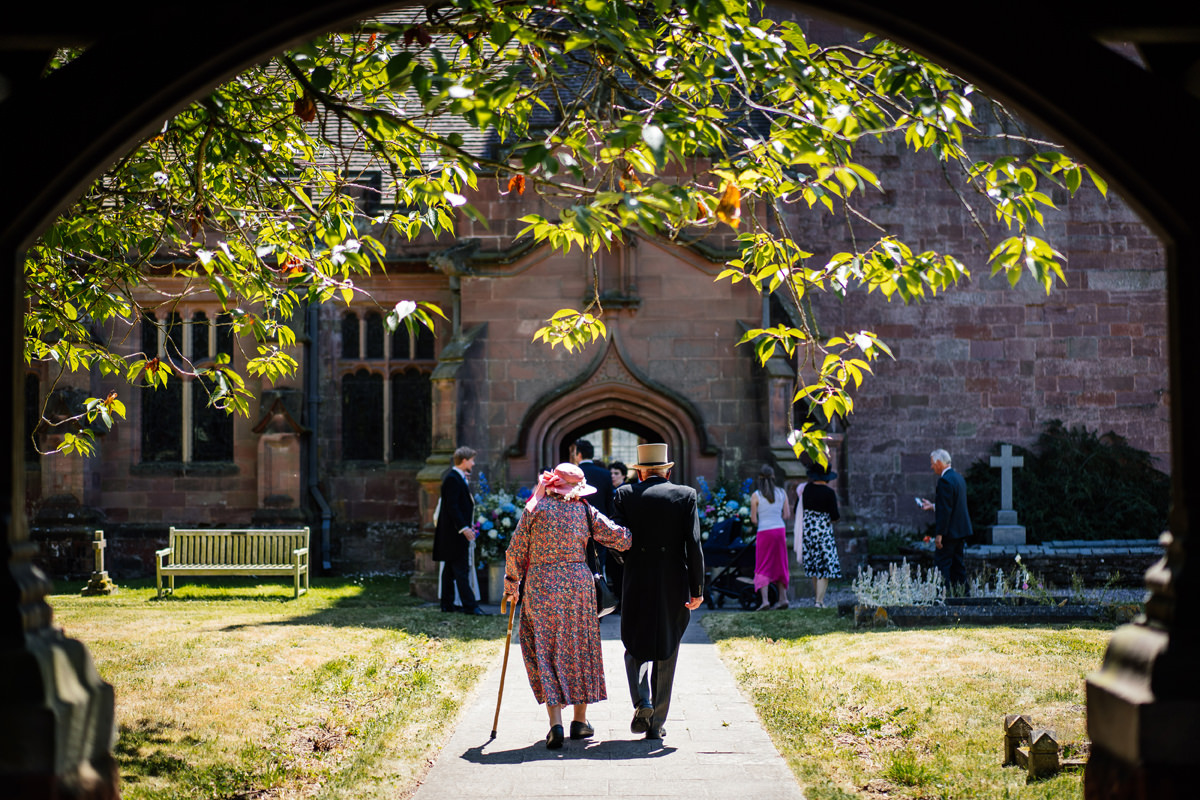 grandparents arriving at the church