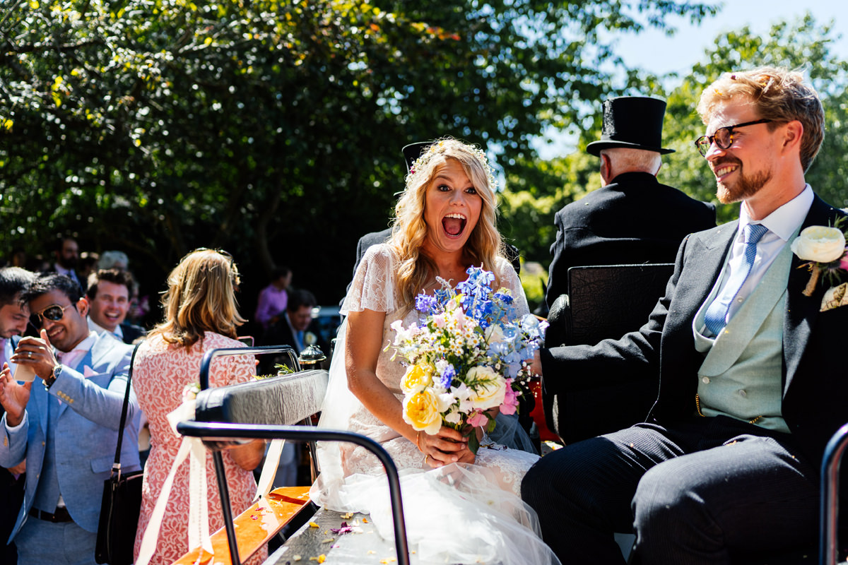 bride totally happy she's just got married
