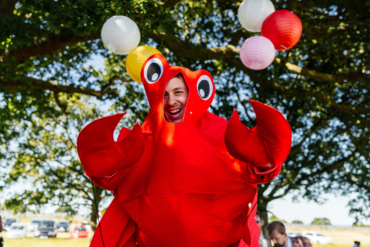 the MC dressed as a lobster