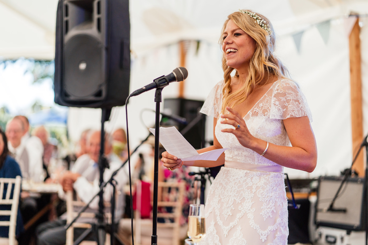 bride delivers her speech