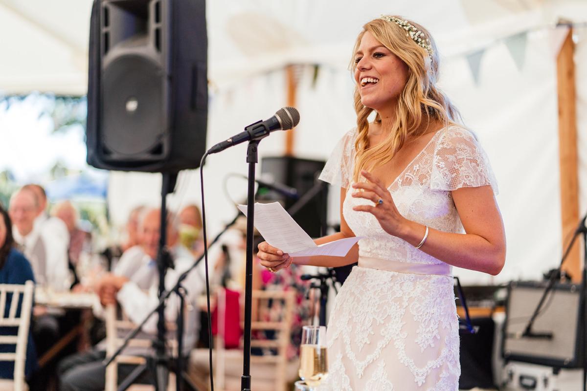 bride delivers her speech