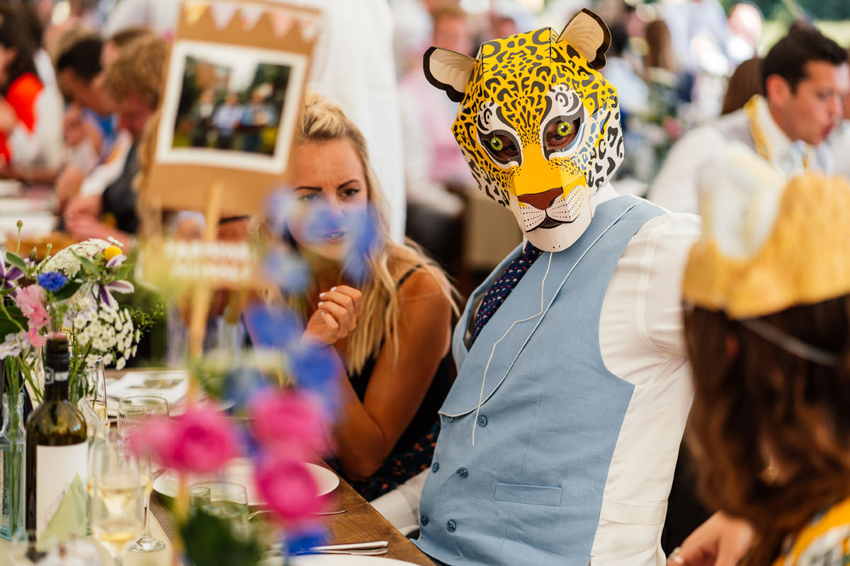 wedding guests having fun with dressing up masks