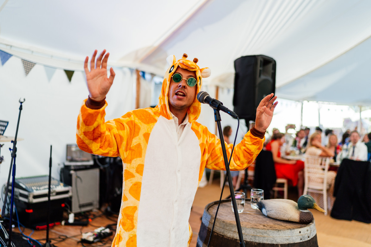 MC announcing speeches whilst wearing a tiger outfit