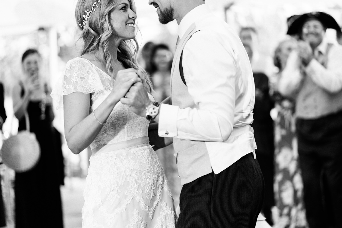 first dance by bride and groom