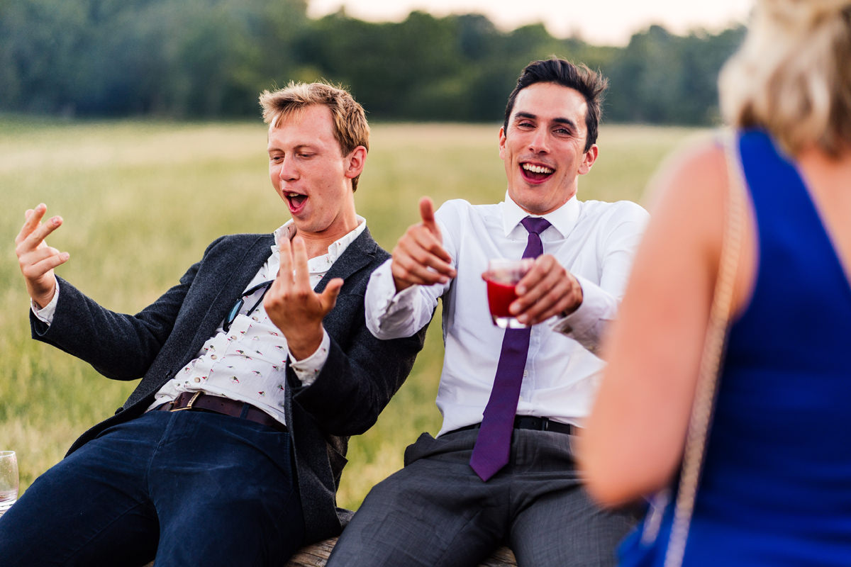 wedding guests having fun in the evening