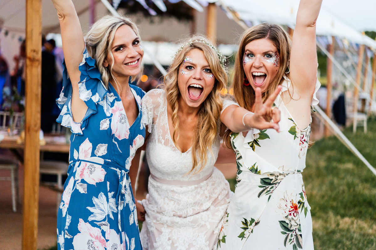 bride and her friends having a good time