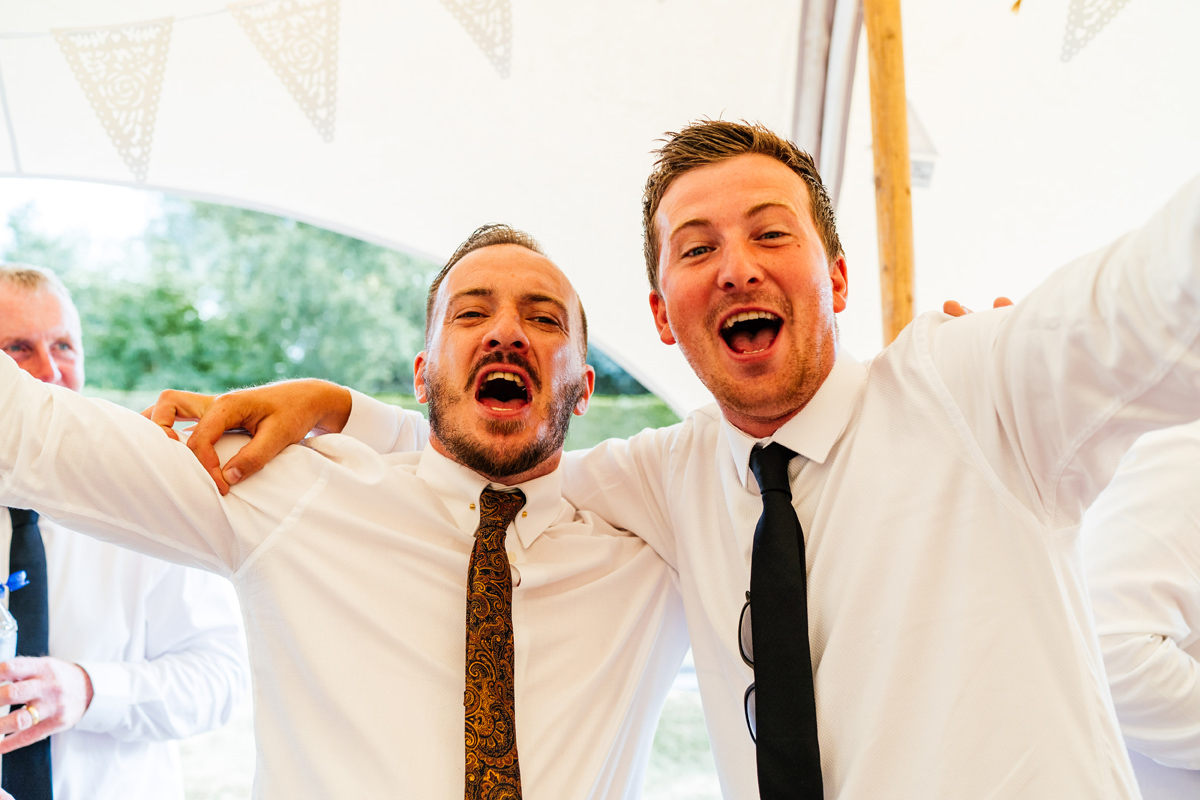 wedding guests happy that the football game was won