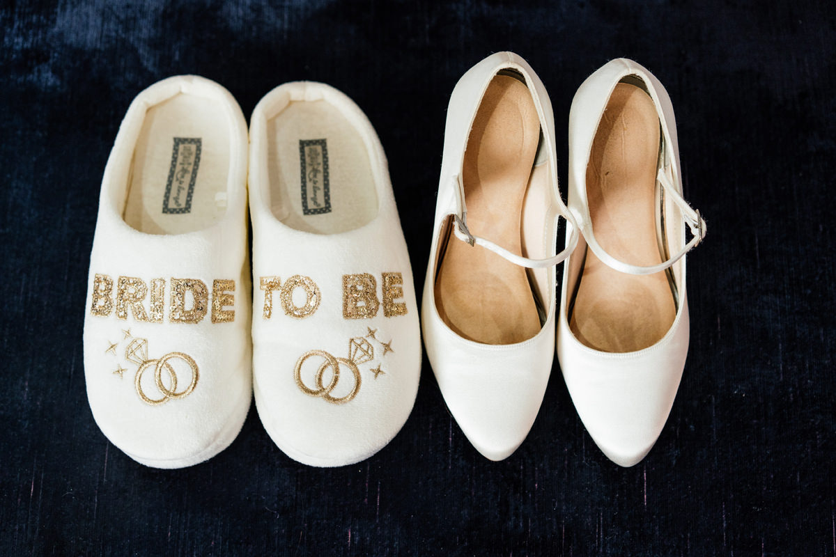 bride's slippers and shoes