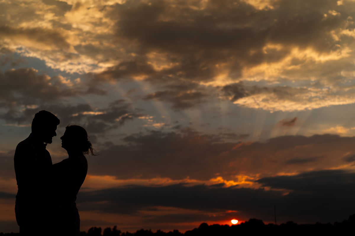 sunset at Dodford Manor bride and groom portrait