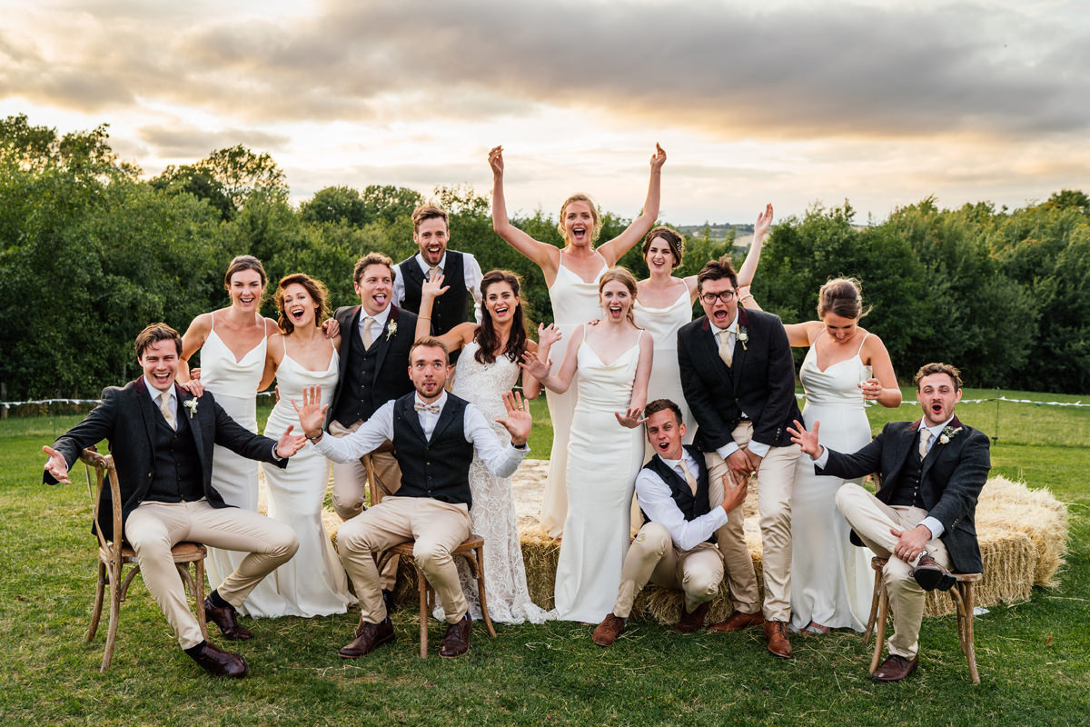 full bridal party group photo