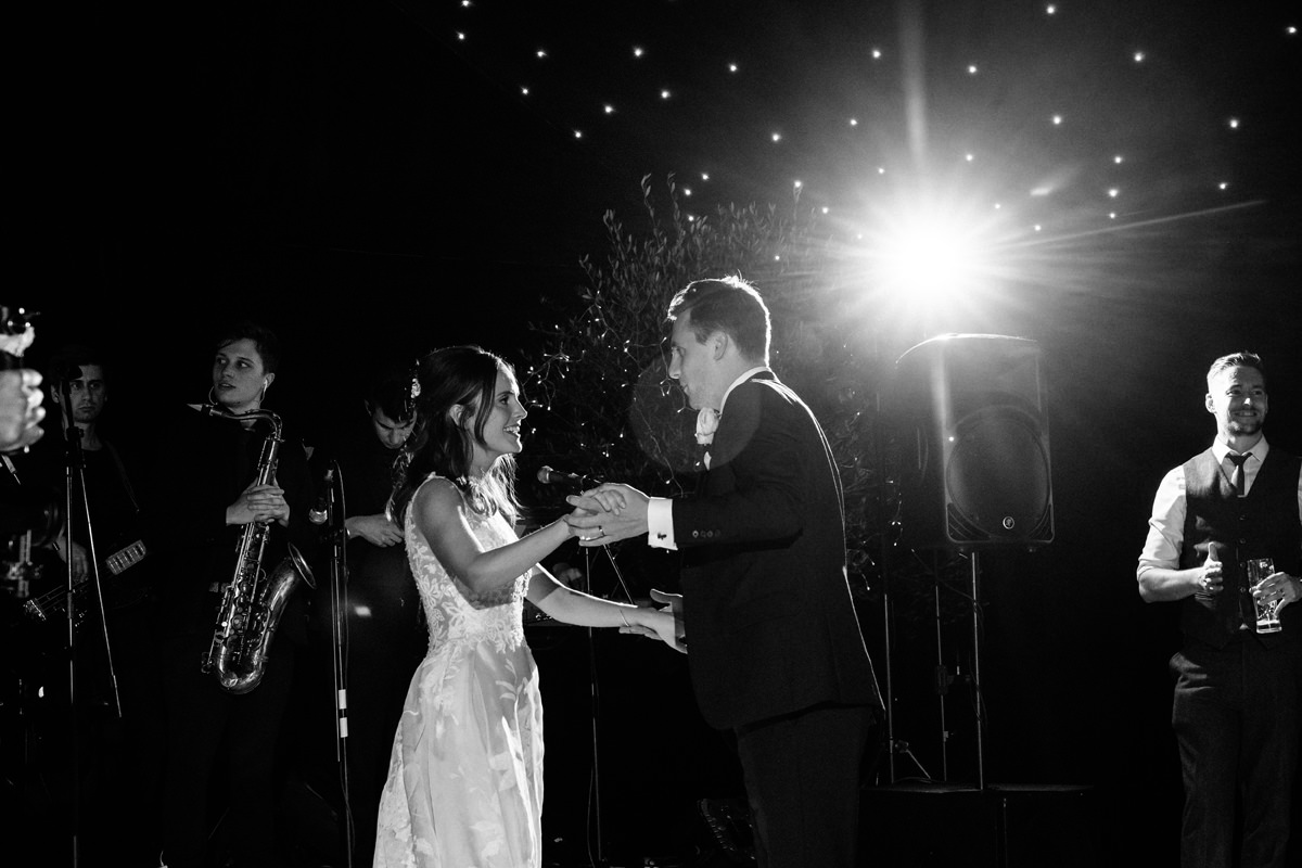 bride and groom have their first dance