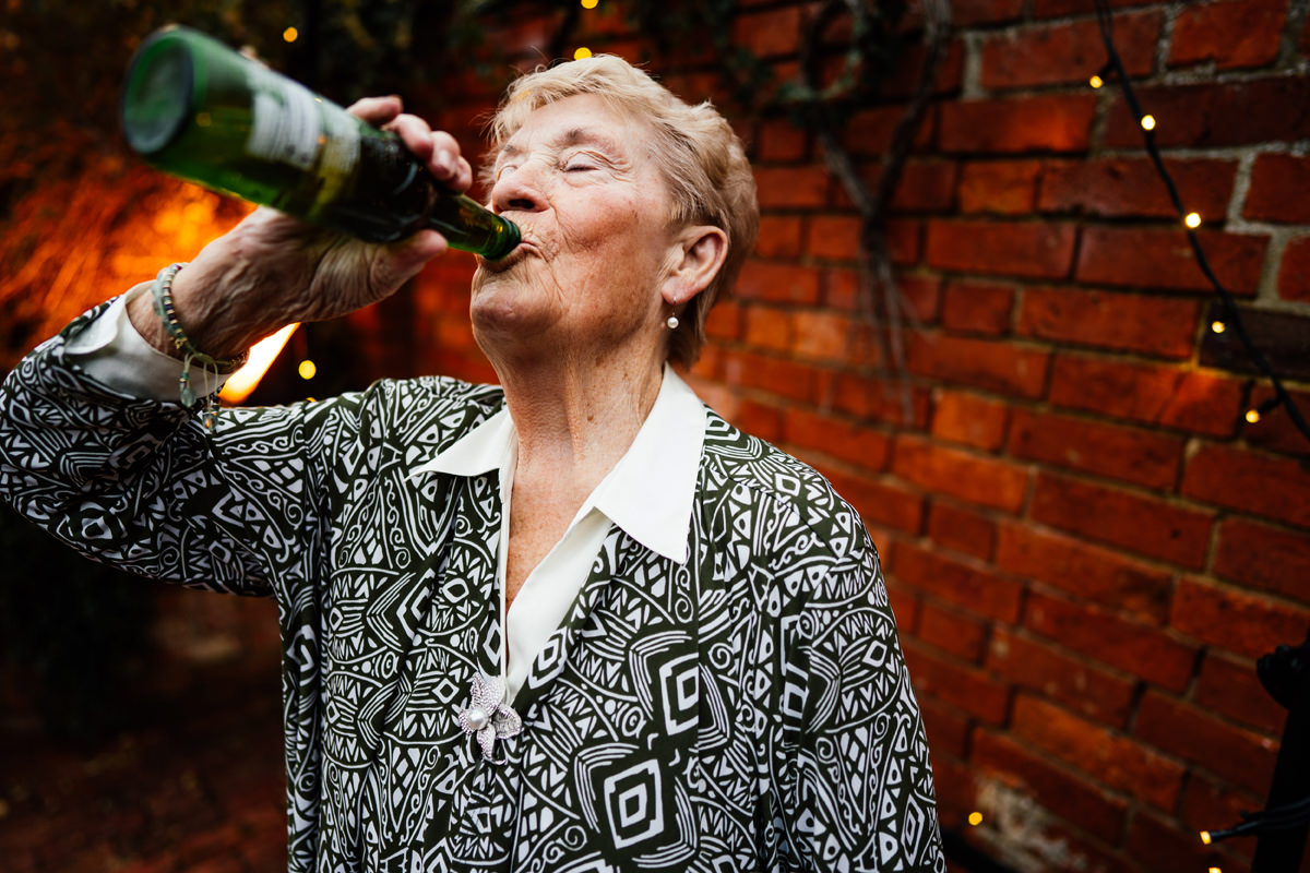 Gran is having a bottle of beer