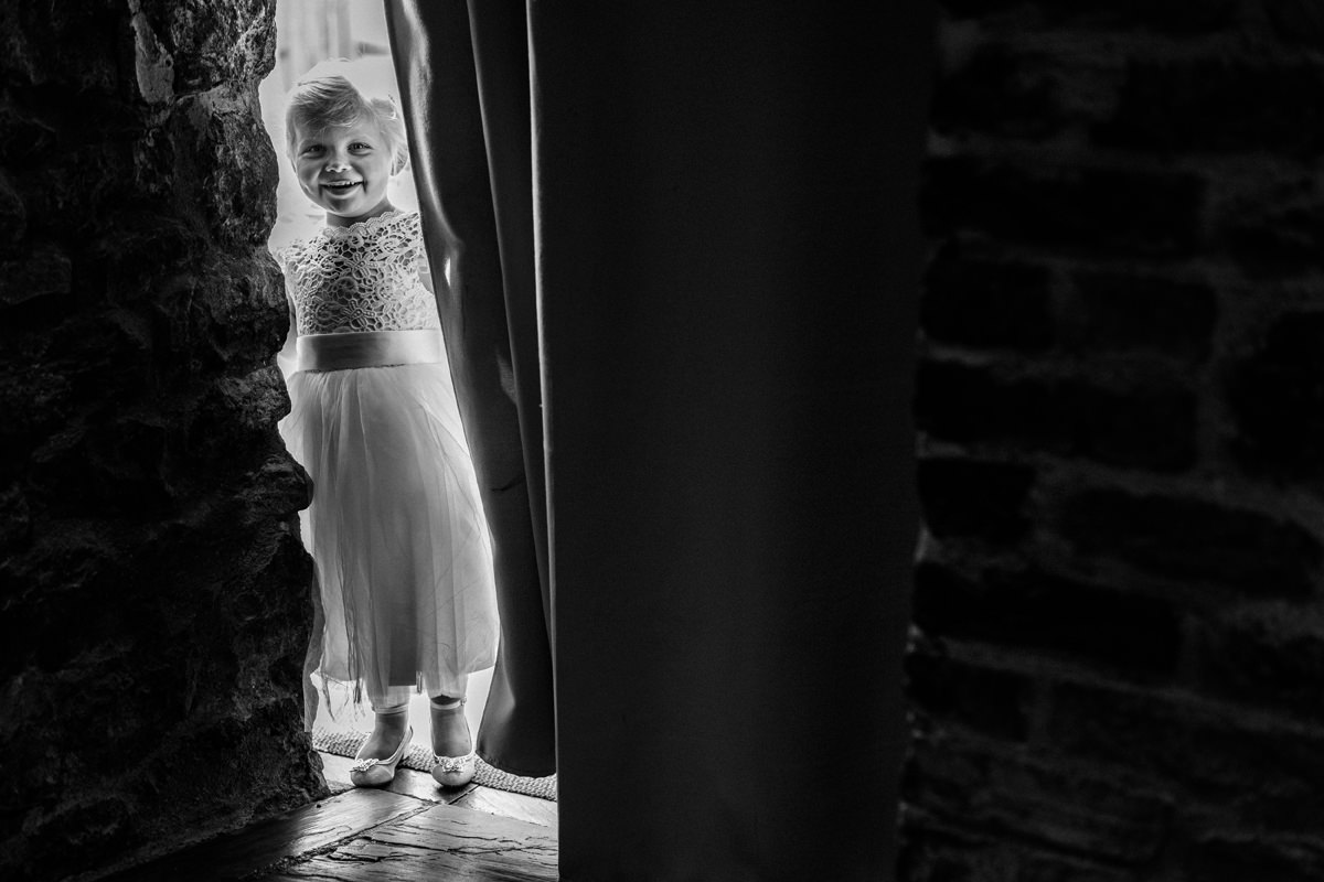 flower girl waiting for the bride to get married