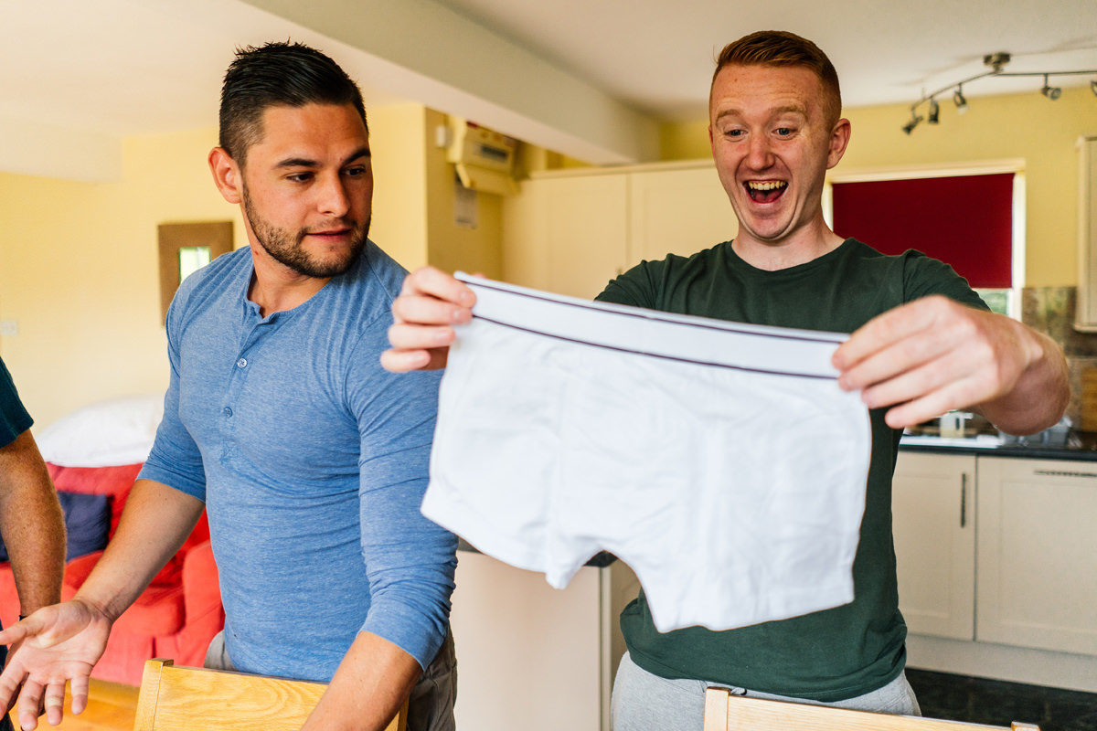 groom gets a new pair of pants