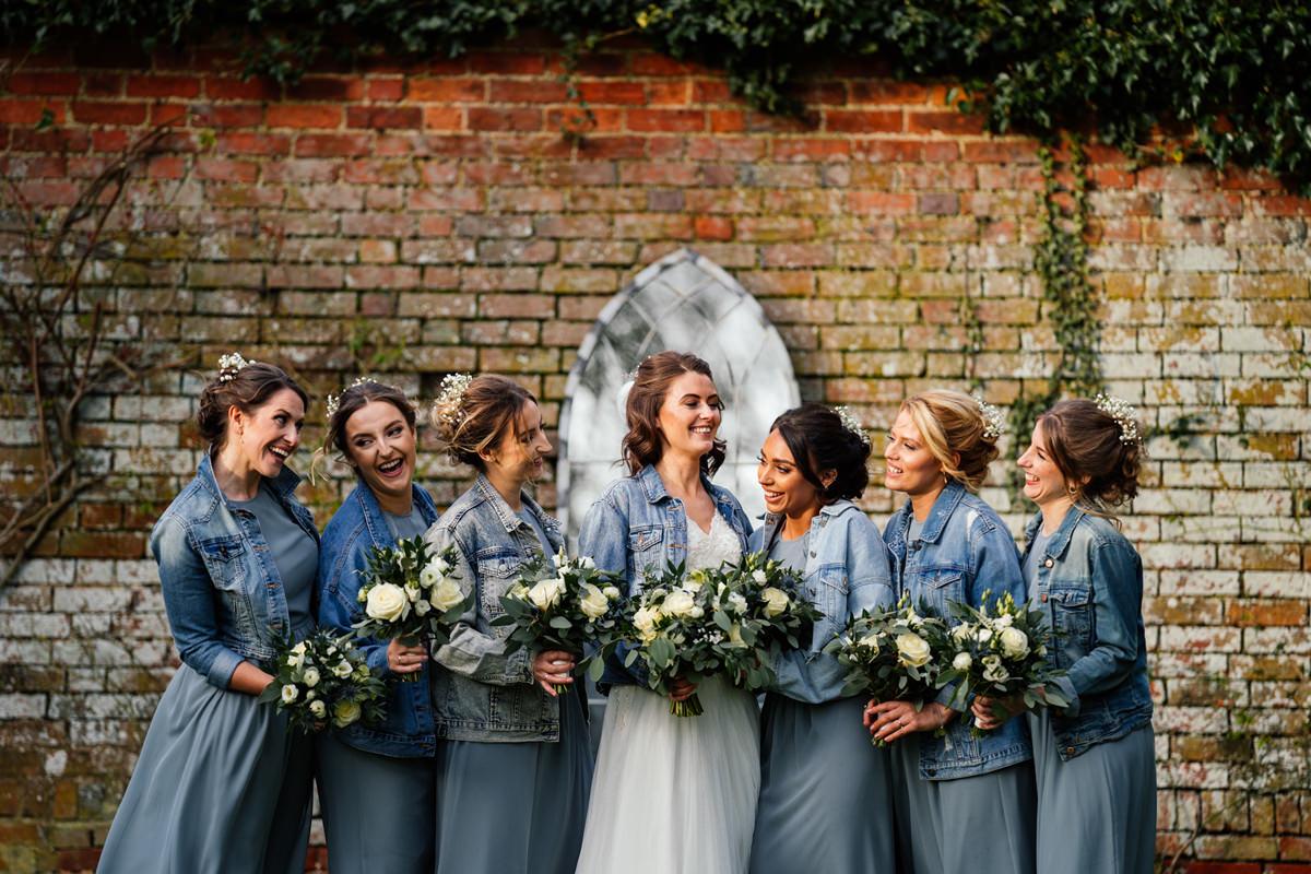 Bride and bridesmaids in denim jackets