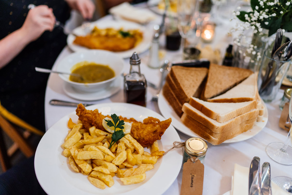 fish and chip wedding breakfast