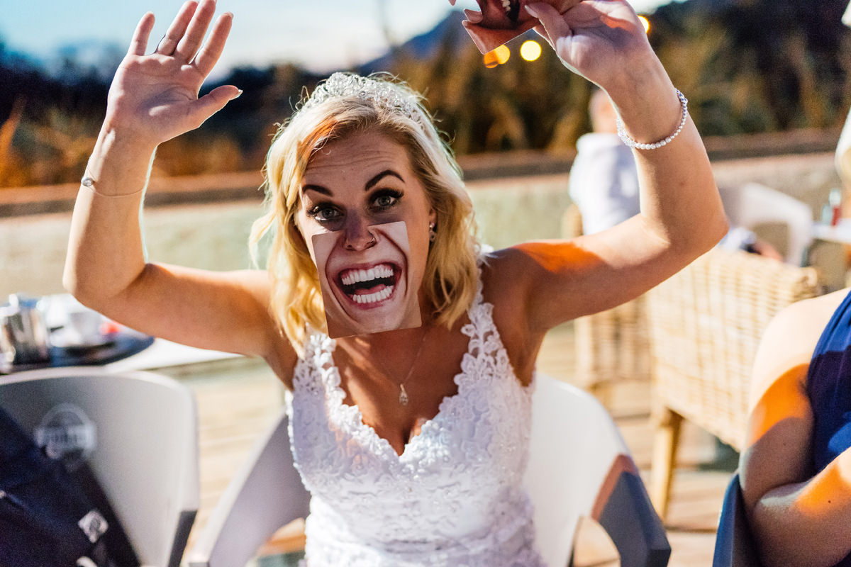 bride with silly game face