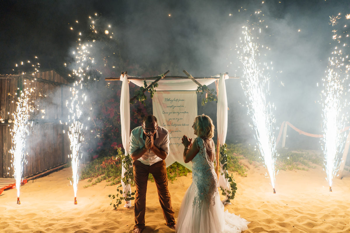 sparklers at the end of the wedding night
