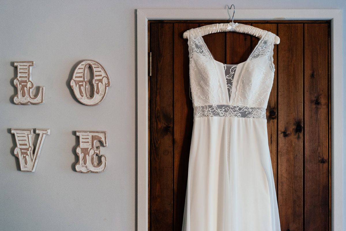 wedding dress from Elizabeth Ayres Bridal